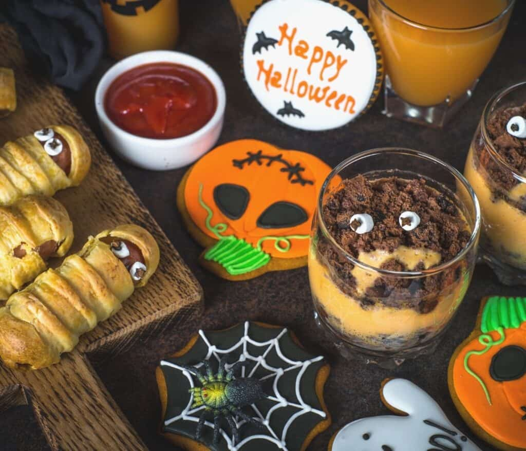 Halloween party appetizers on a table for adults