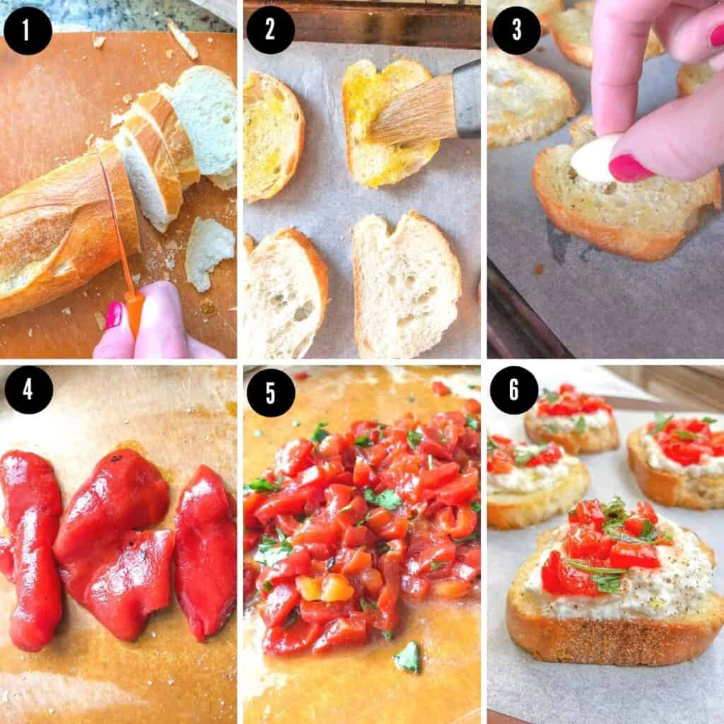 step by step images to show you how to make crostini with ricotta cheese and roasted red peppers