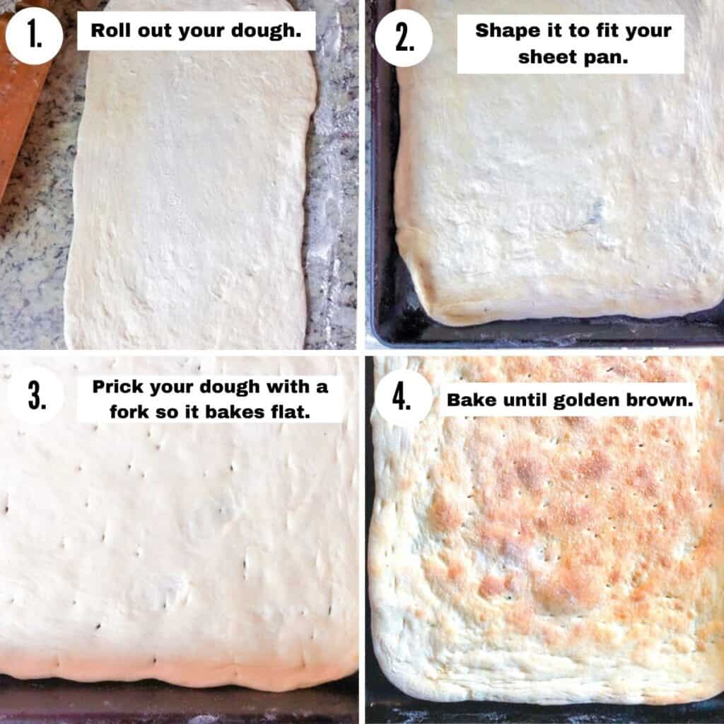 steps with images for rolling and baking your own flatbread pizza dough