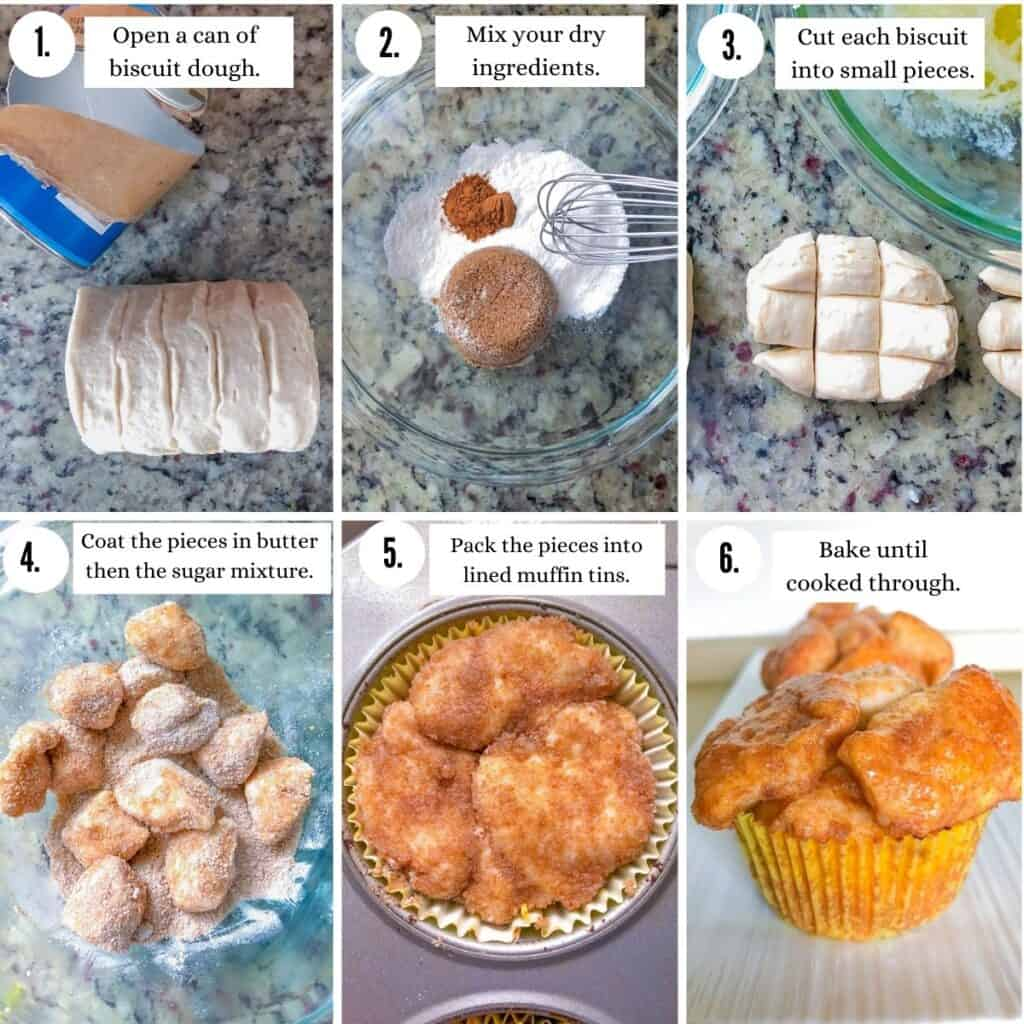 steps with photos for how to make mini monkey bread muffins