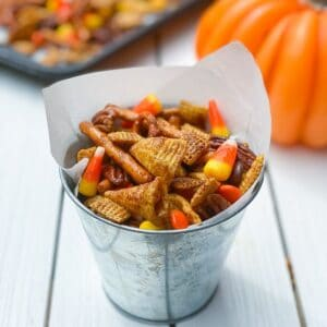 overhead shot of pumpkin chex mix recipe