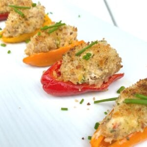 sausage stuffed mini peppers with panko breadcrumbs