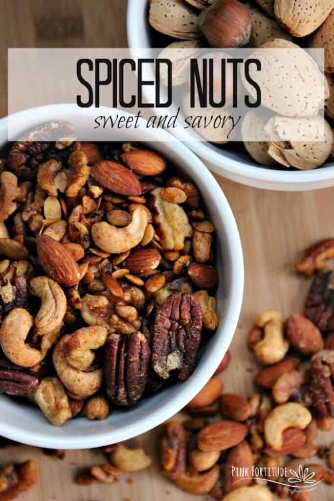 spiced nuts in a bowl and on table