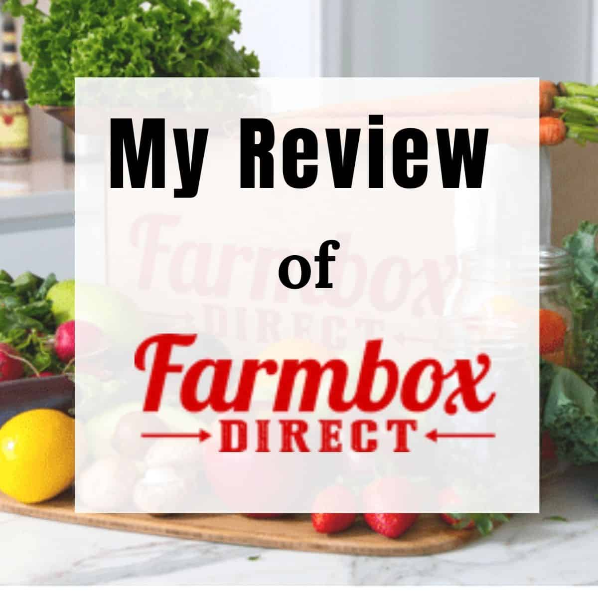 Image of farmbox direct logo and veggies and fruit behind it.
