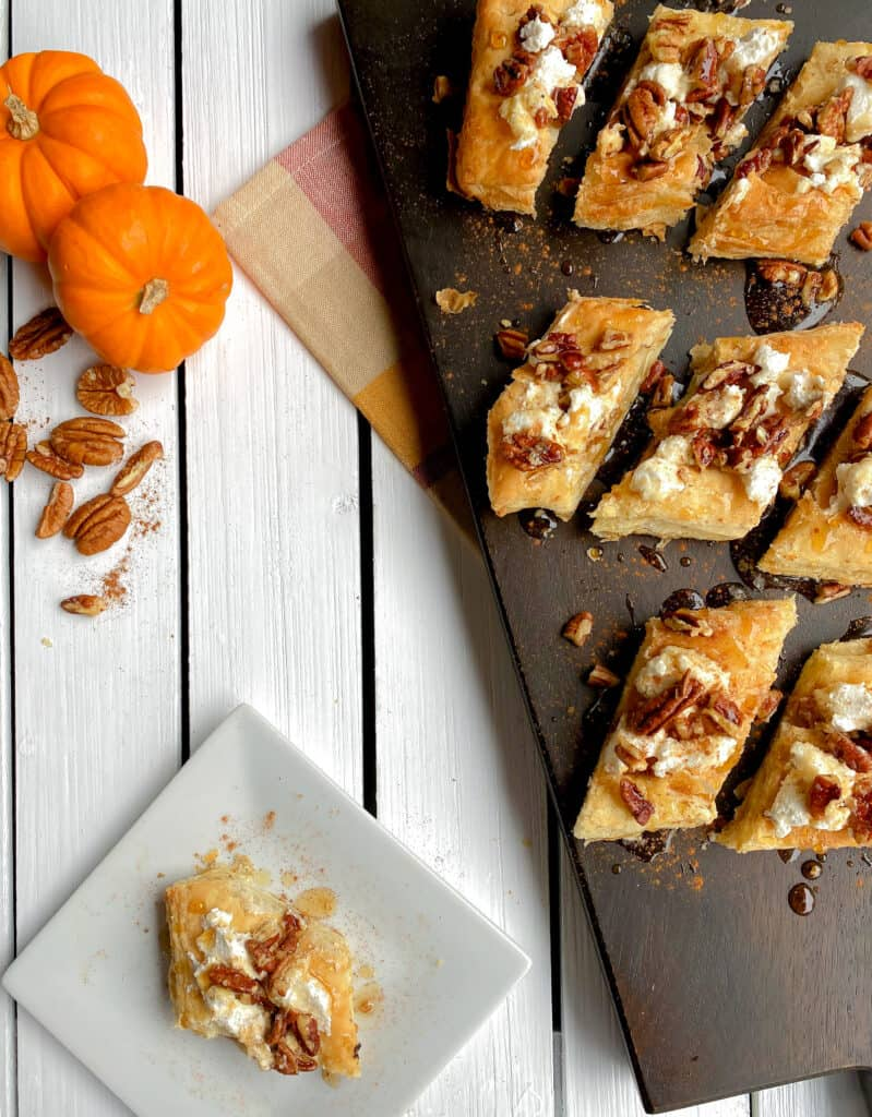 puff pastry cut into strips topped with goat cheese, maple syrup and pecans