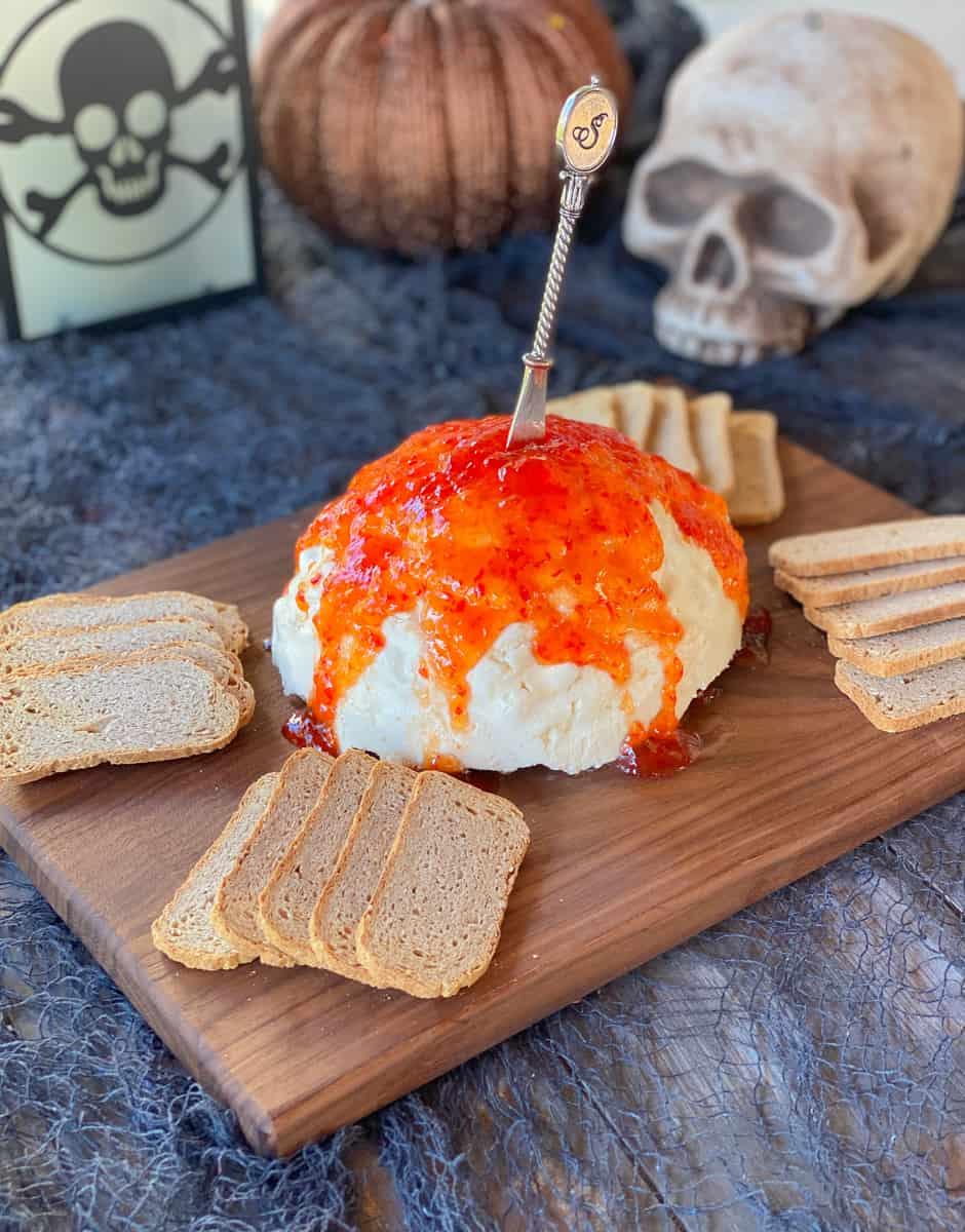 halloween brain mold dip appetizer.