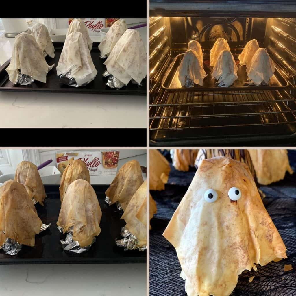 steps showing how to bake phyllo ghosts on baking sheet