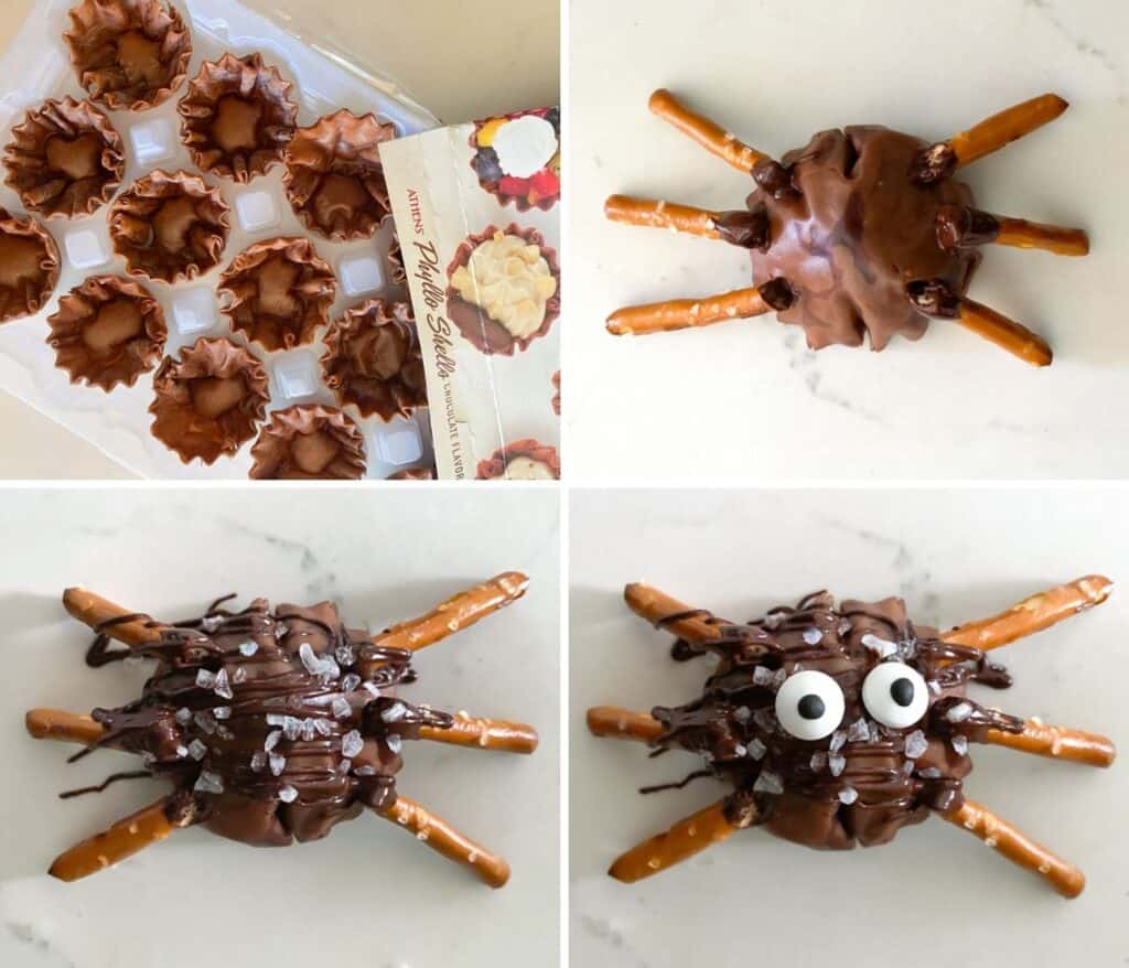 Showing images of how to make spooky Halloween spiders using phyllo shells.