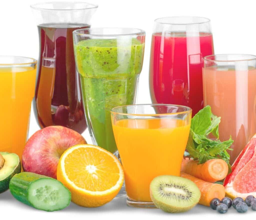 freshly squeezed juice with fruit and veggies