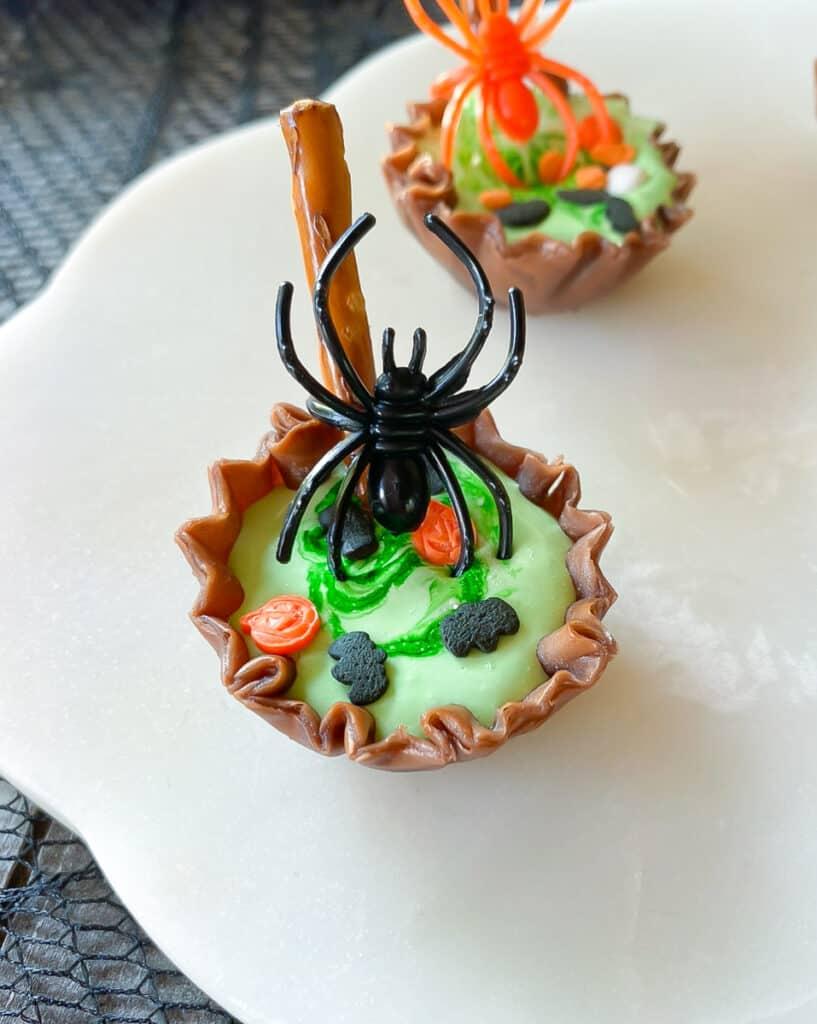 close up of chocolate phyllo shell halloween dessert
