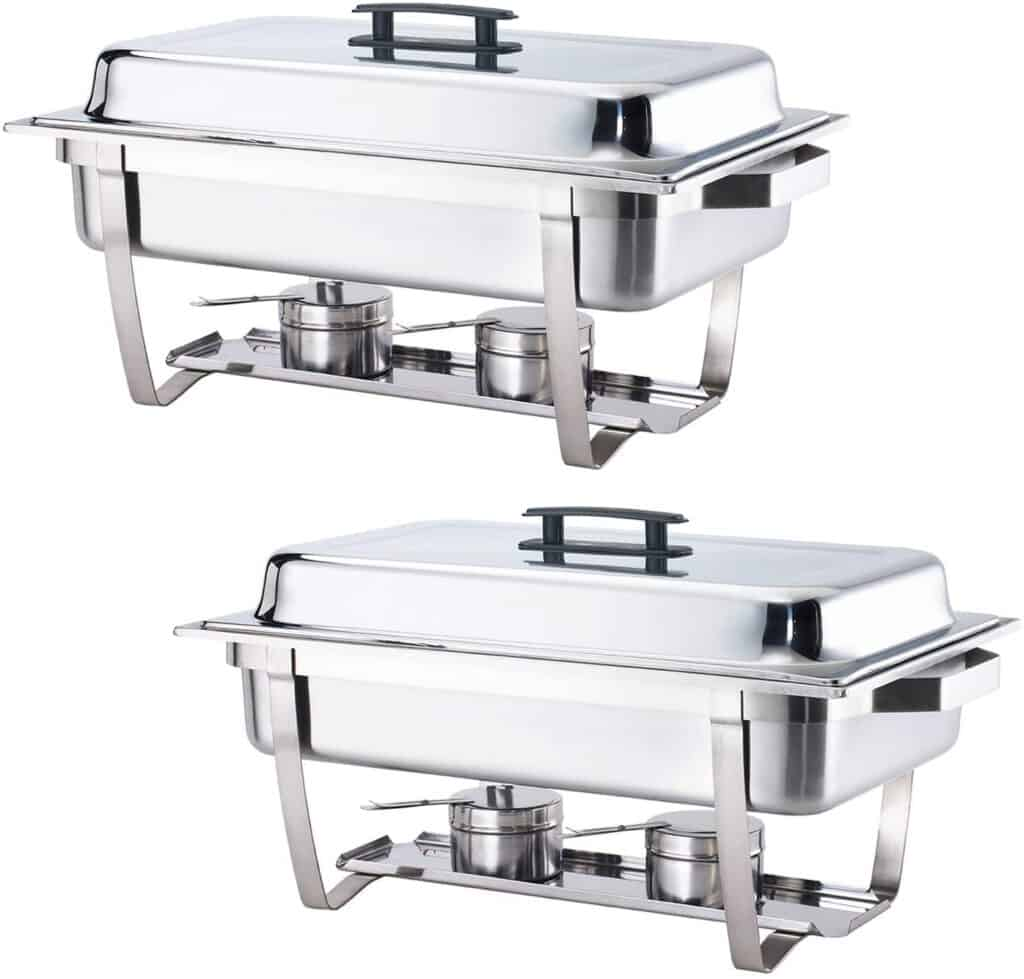 two stainless steel chafing dishes