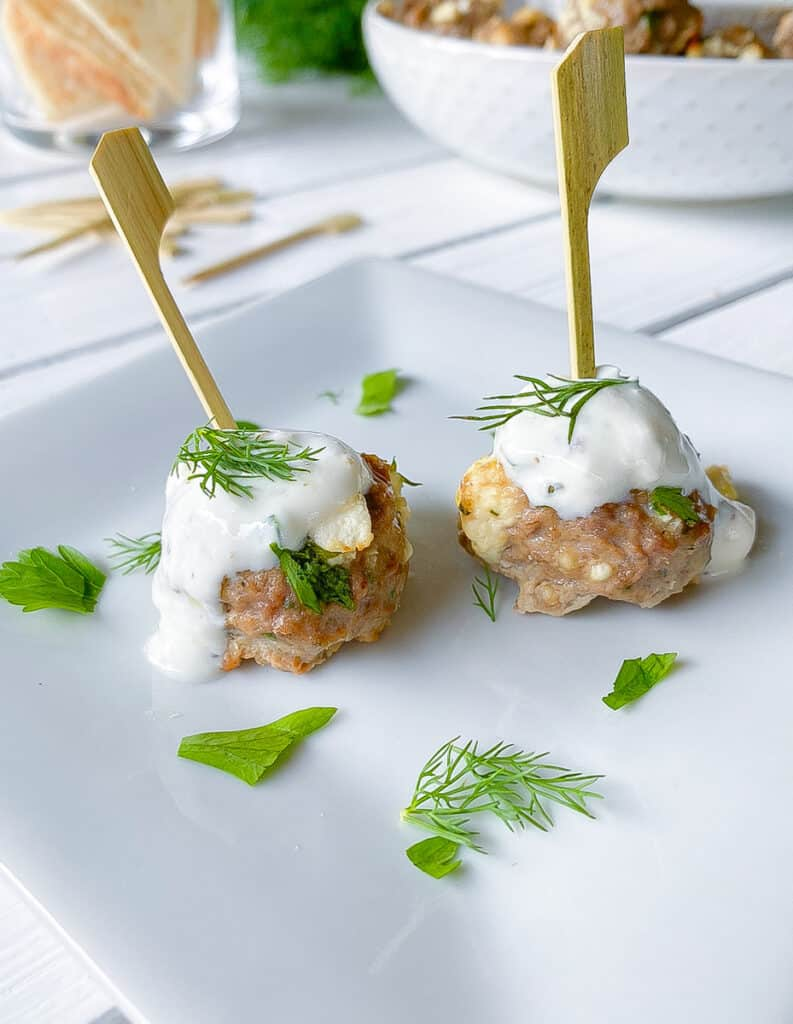lamb meatballs with feta cheese and tzatziki sauce on wooden skewers on a plate