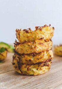 baked hash browns stacked on top of eachother.