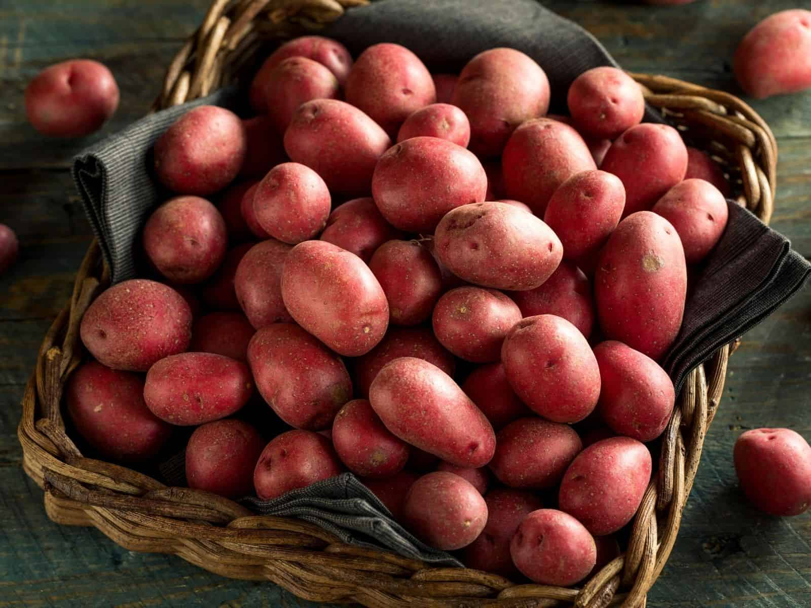 red potatoes in a basket.