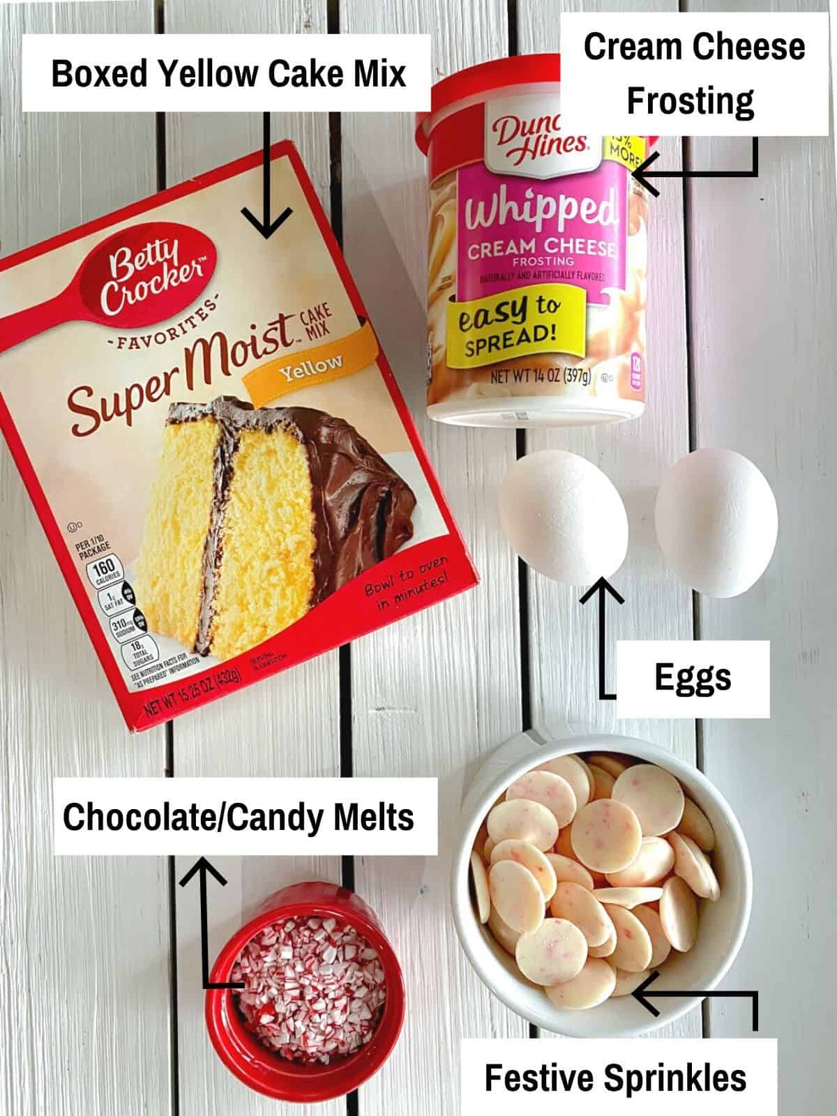 Ingredients to make christmas cake balls on a table.