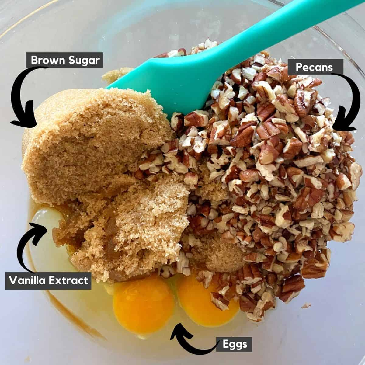Ingredients in a bowl for nut cups.