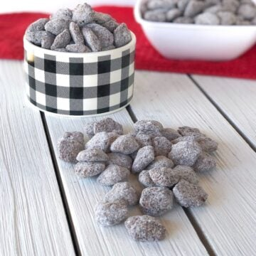 muddy buddies in a bowl on a table