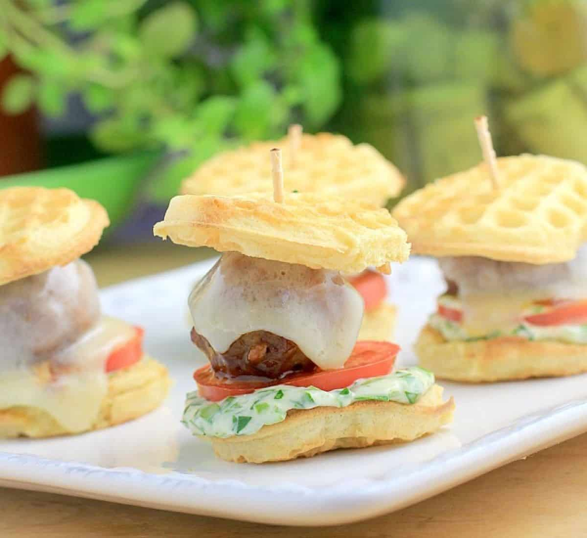 mini waffle meatball party sandwiches.