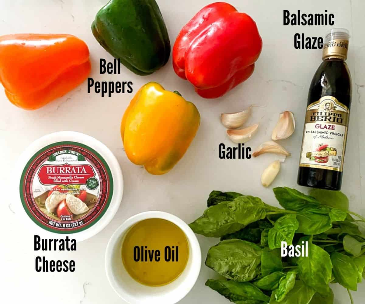 ingredients laid out to make burrata cheese appetizer.