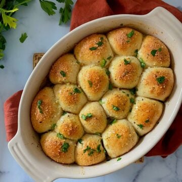 Cheese stuffed biscuit garlic knot bombs.