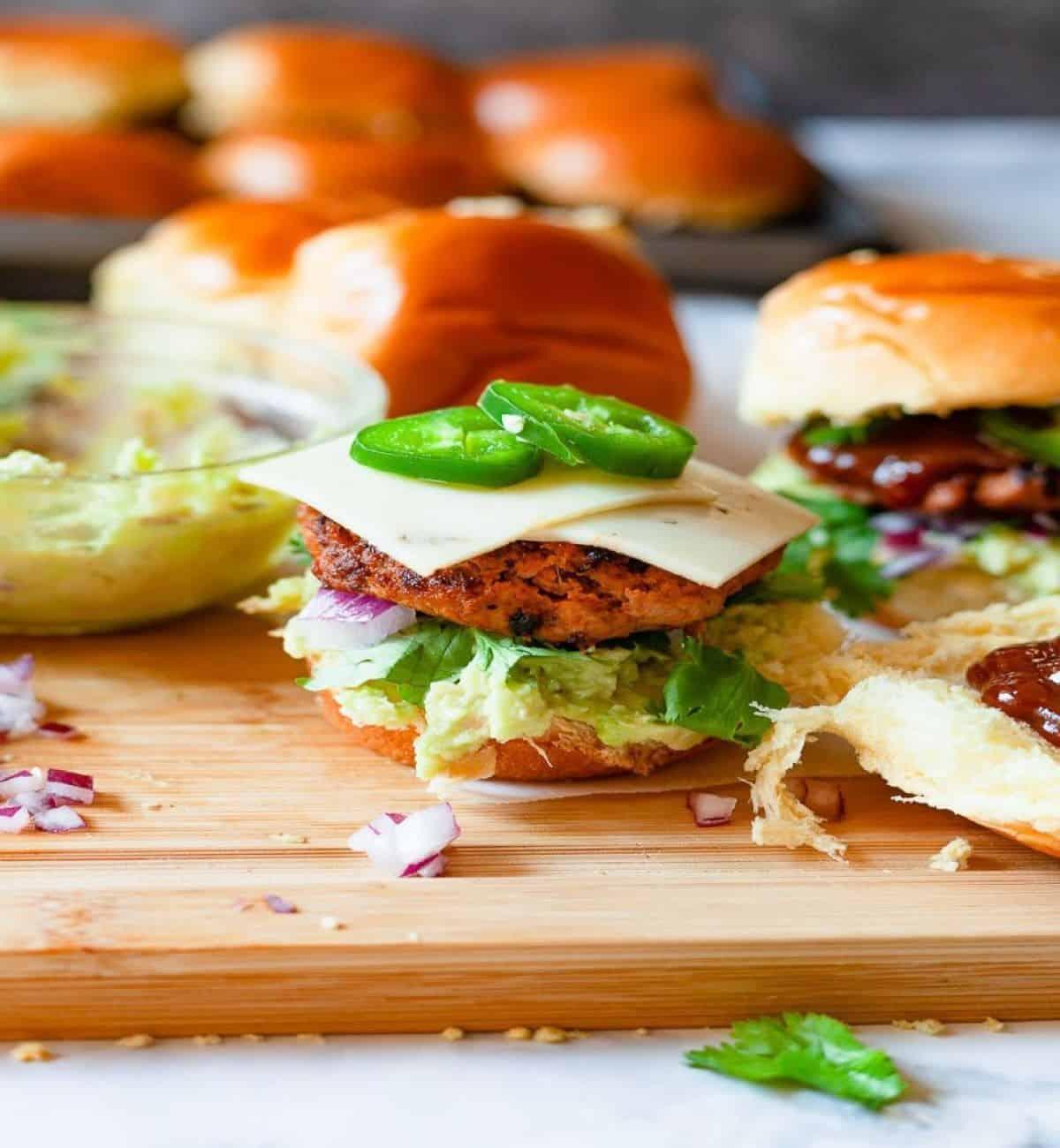 mini turkey burger sliders with jalapenos.