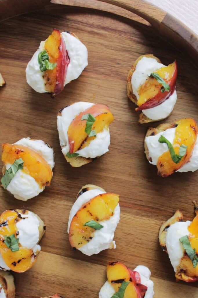 grilled peach and lemon crostini appetizer.