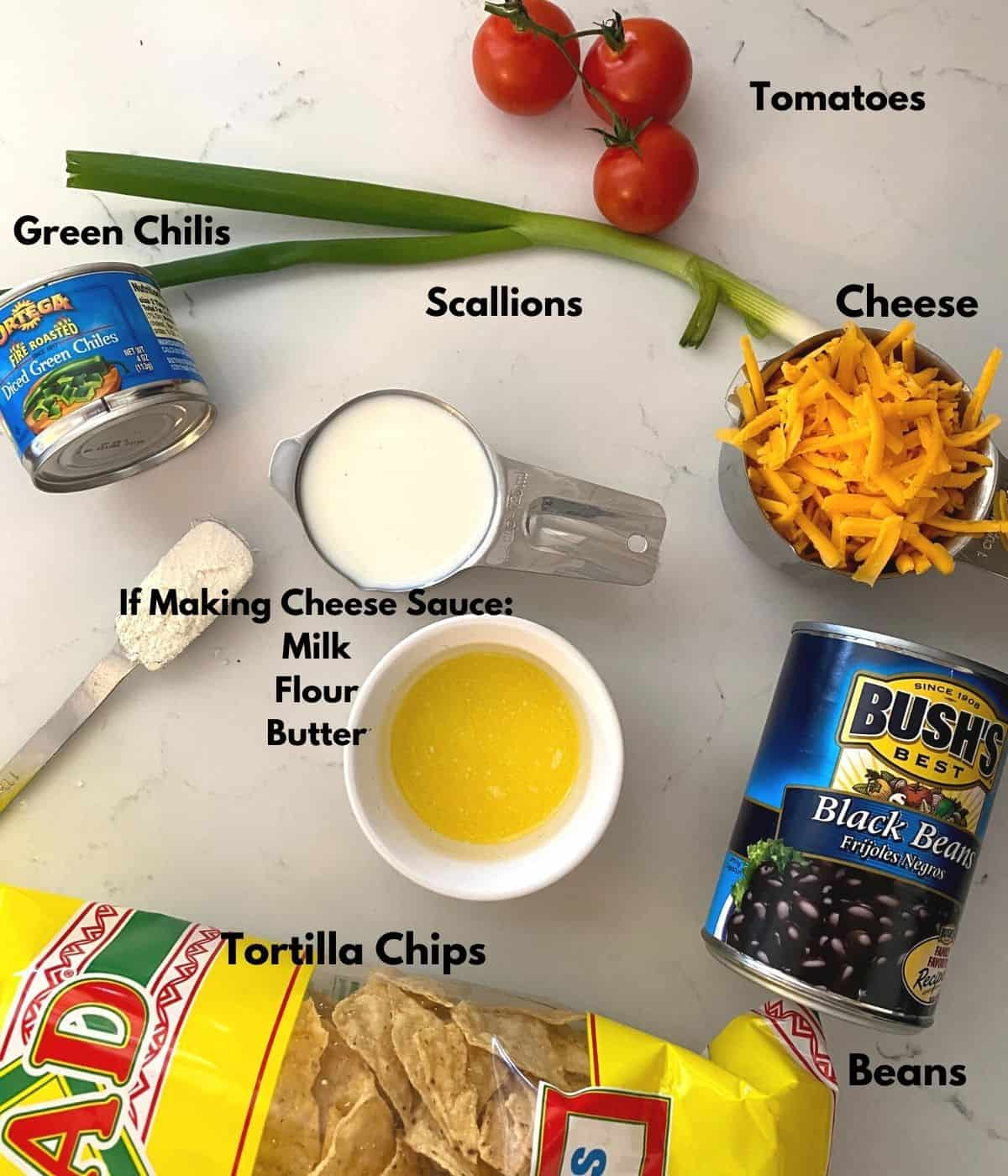 ingredients for air fryer nachos on a table.