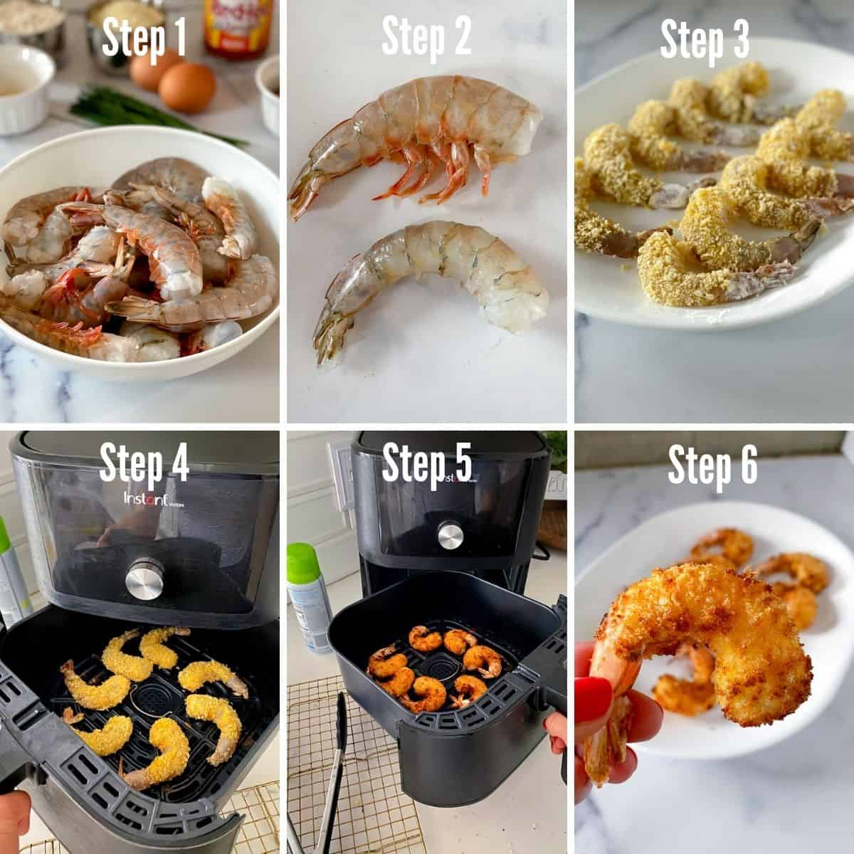 Steps for how to make buffalo shrimp in the air fryer.