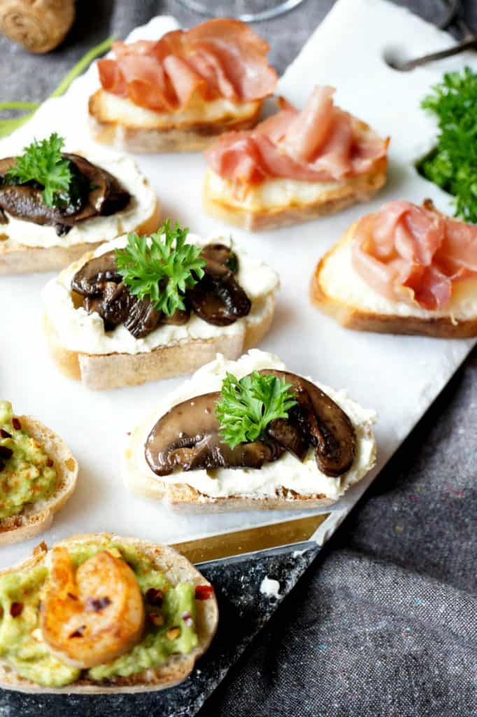 holiday crostini trio with mushrooms and proscuitto.