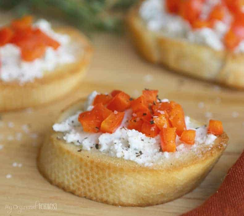 Red pepper and ricotta crostini.