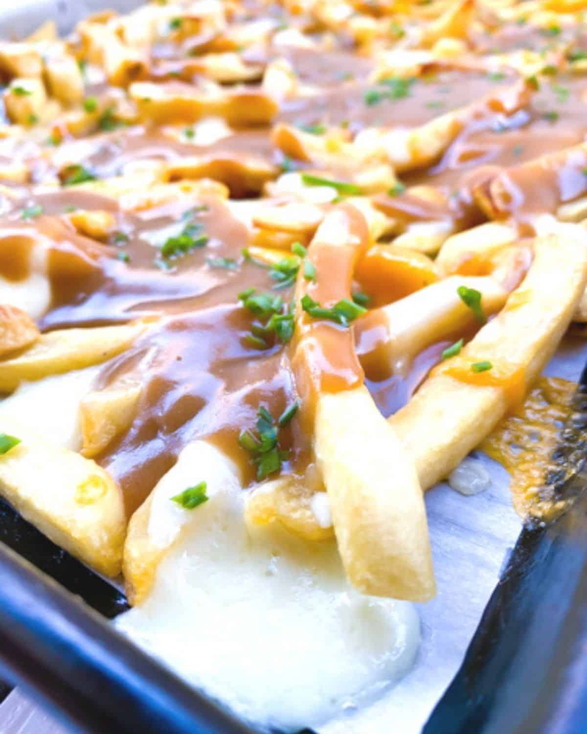 melted mozzarella over fries topped with brown gravy.