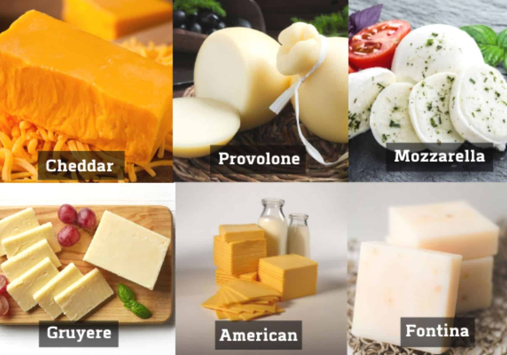 collage of different types of cheese to use on your disco fries.