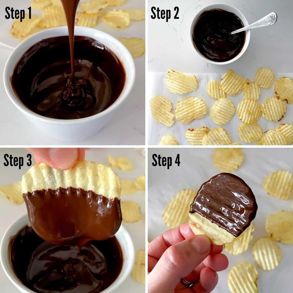 steps to make homemade chocolate covered potato chips showing dipping my chip into melted chocolate.