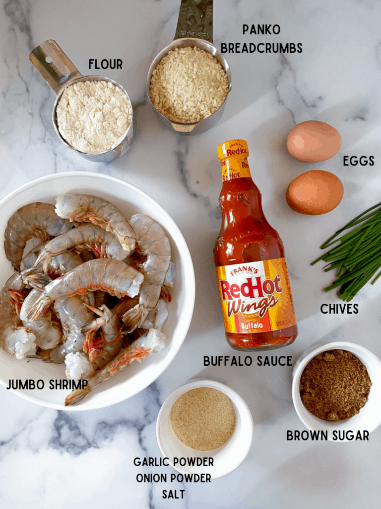 ingredients to make air fryer buffalo shrimp recipe.