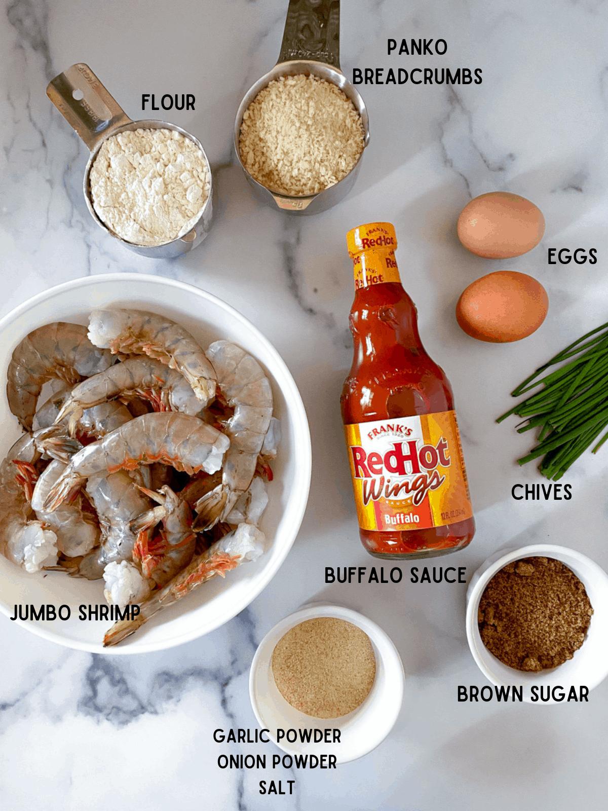 ingredients to make air fryer buffalo shrimp recipe.