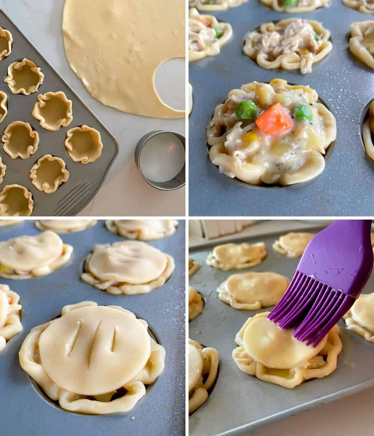 Steps for how to make your own mini chicken pot pie bites.