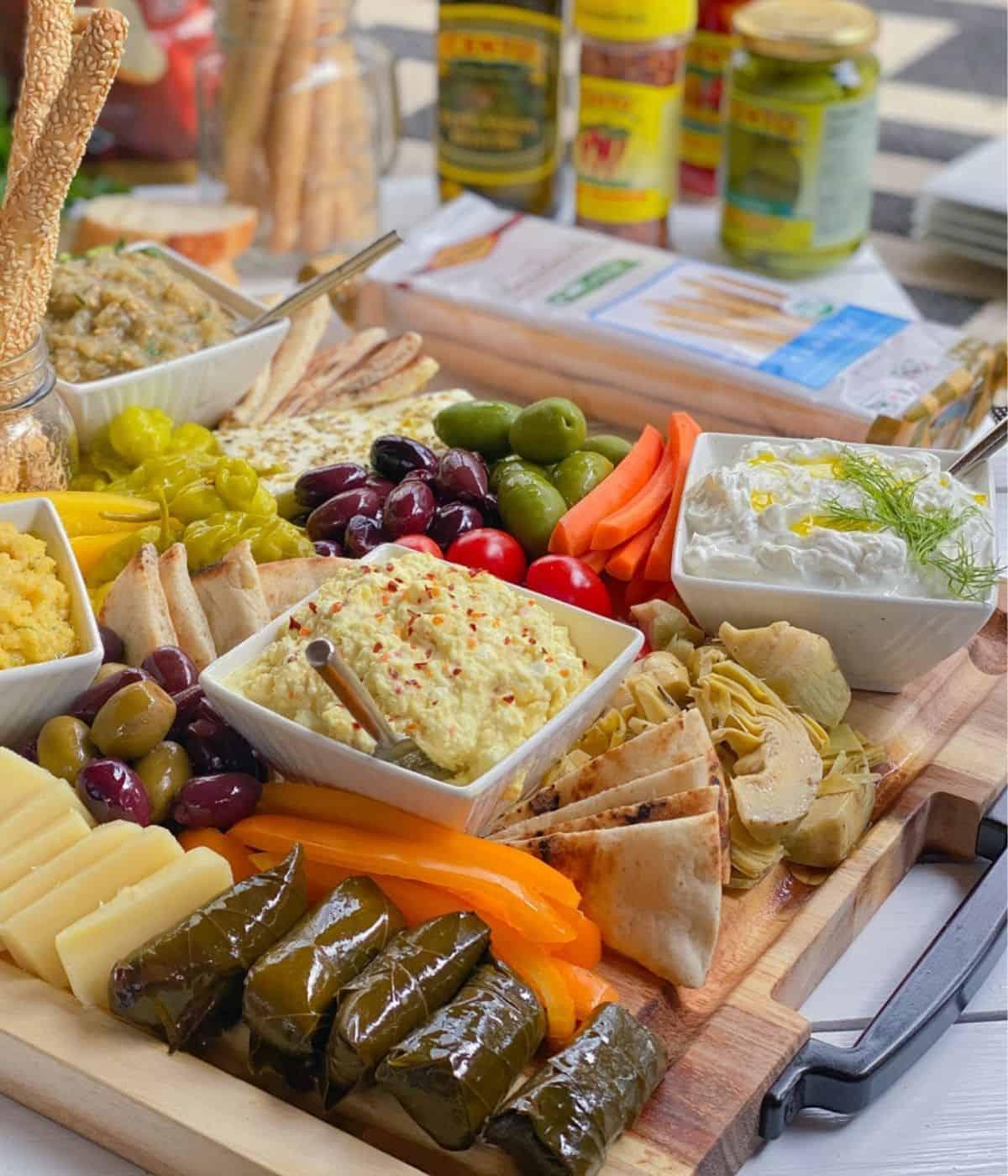 Greek meze appetizer platter.