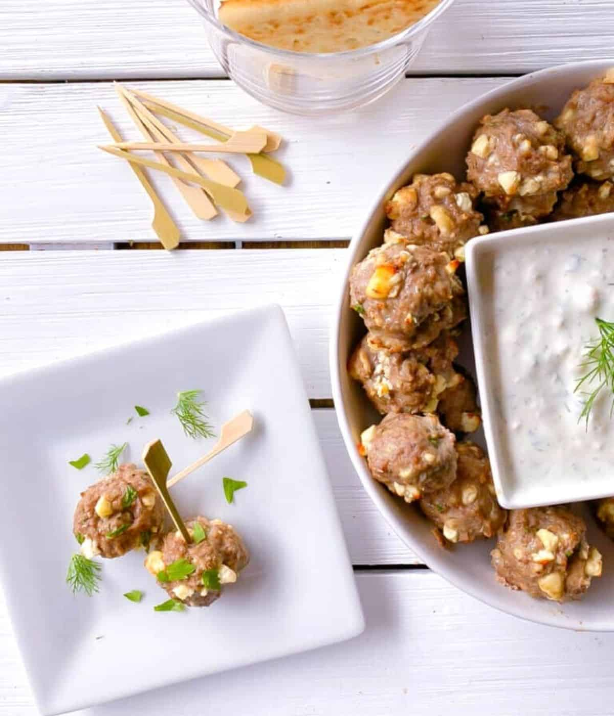 Greek lamb meatball appetizers with feta cheese.