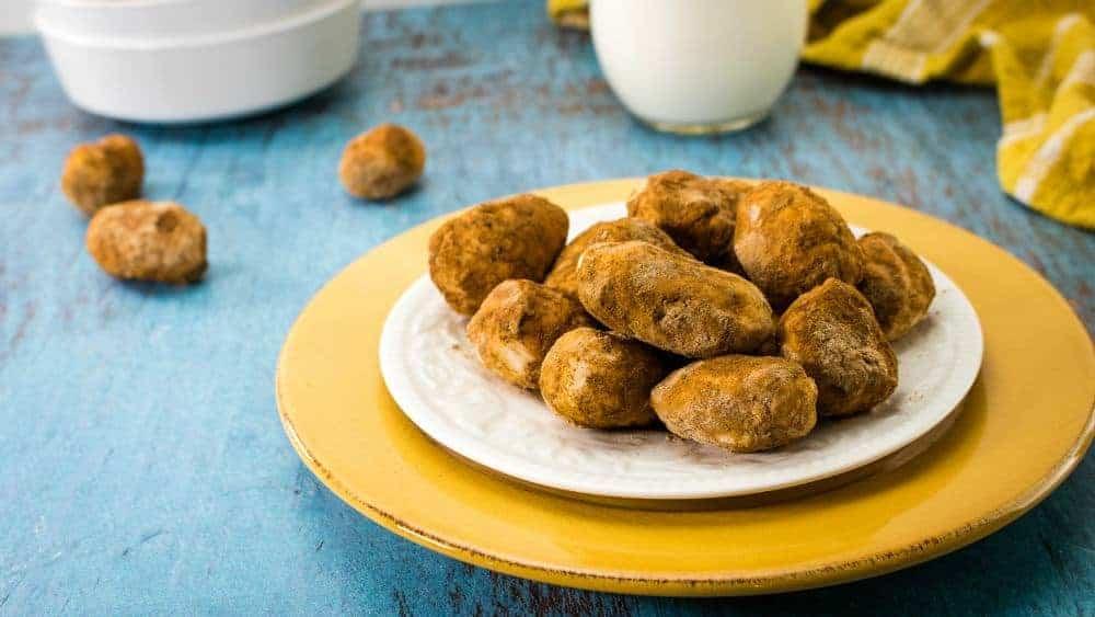 irish potato candies on a plate.