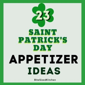 saint patrick's day appetizers with green text overlay.
