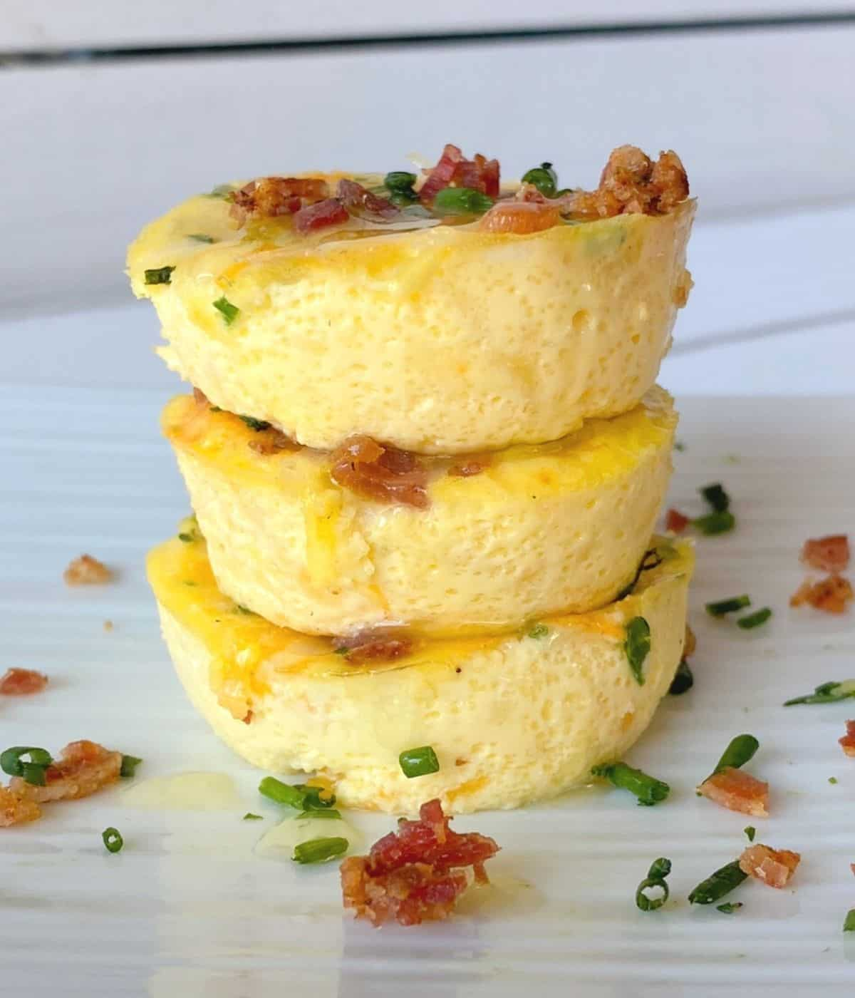 Starbucks copycat sous vide egg bites stacked on top of eachother.