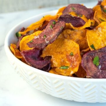 air fried sweet potato chips in a bowl.