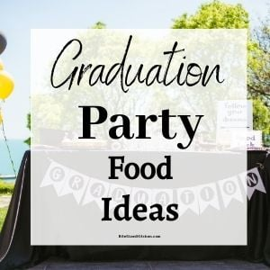 "graduation party with balloons with text overlay saying ""graduation party food ideas""."