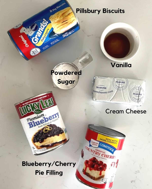 Ingredients to patriotic American flag dessert.