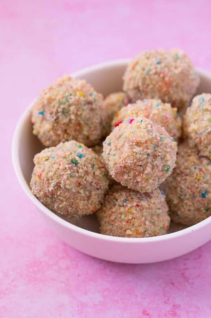 Kids birthday cake funfetti truffles in a bowl.