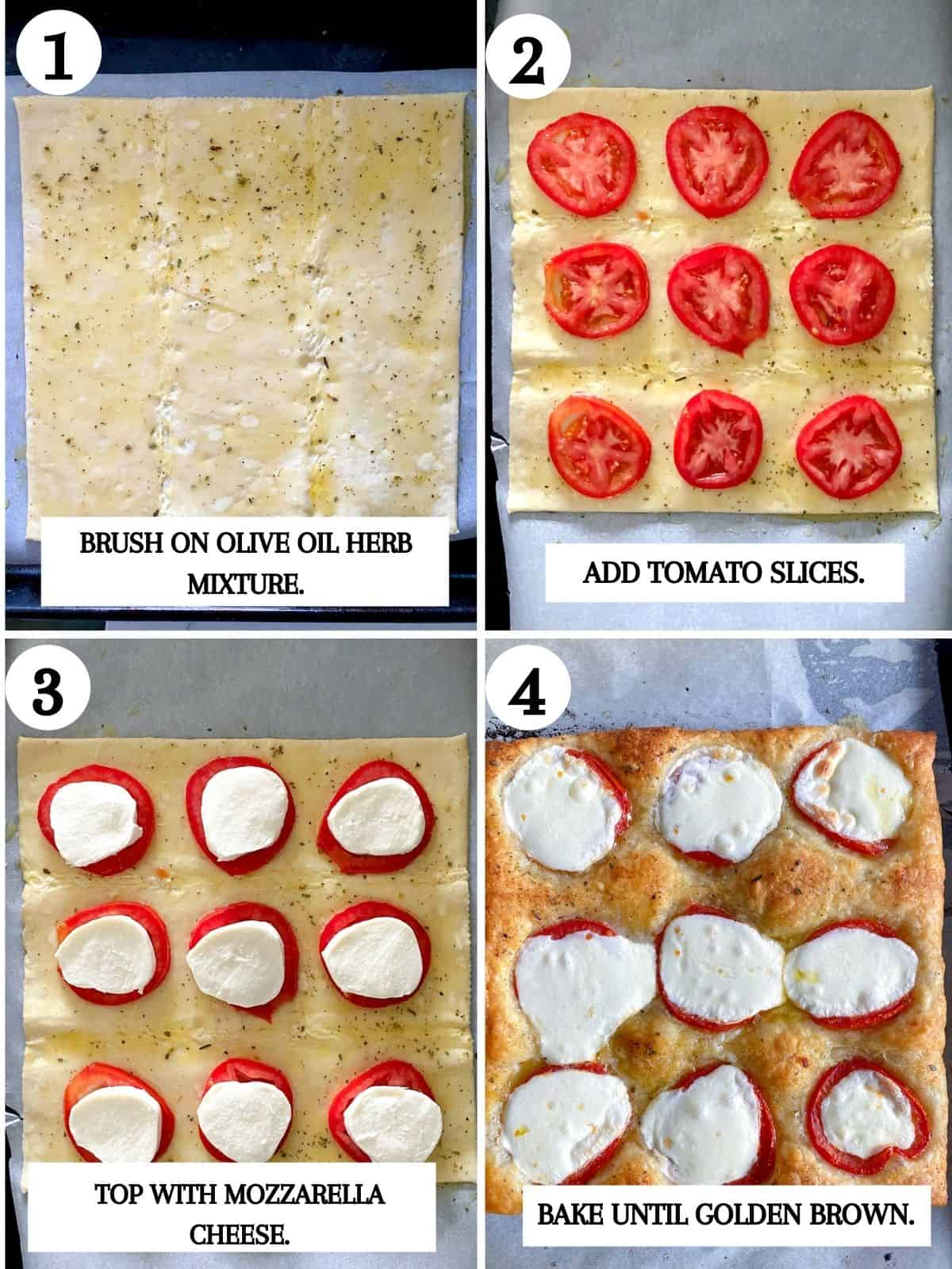 Steps to make puff pastry pizza.