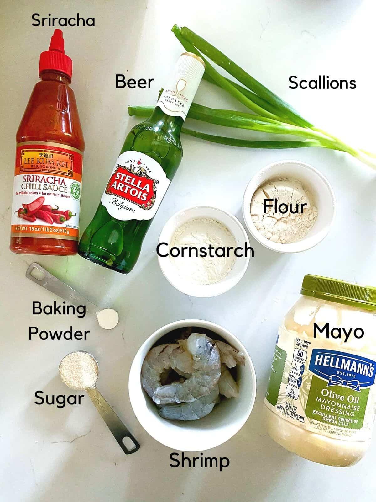 Ingredients to make dynamite shrimp recipe.