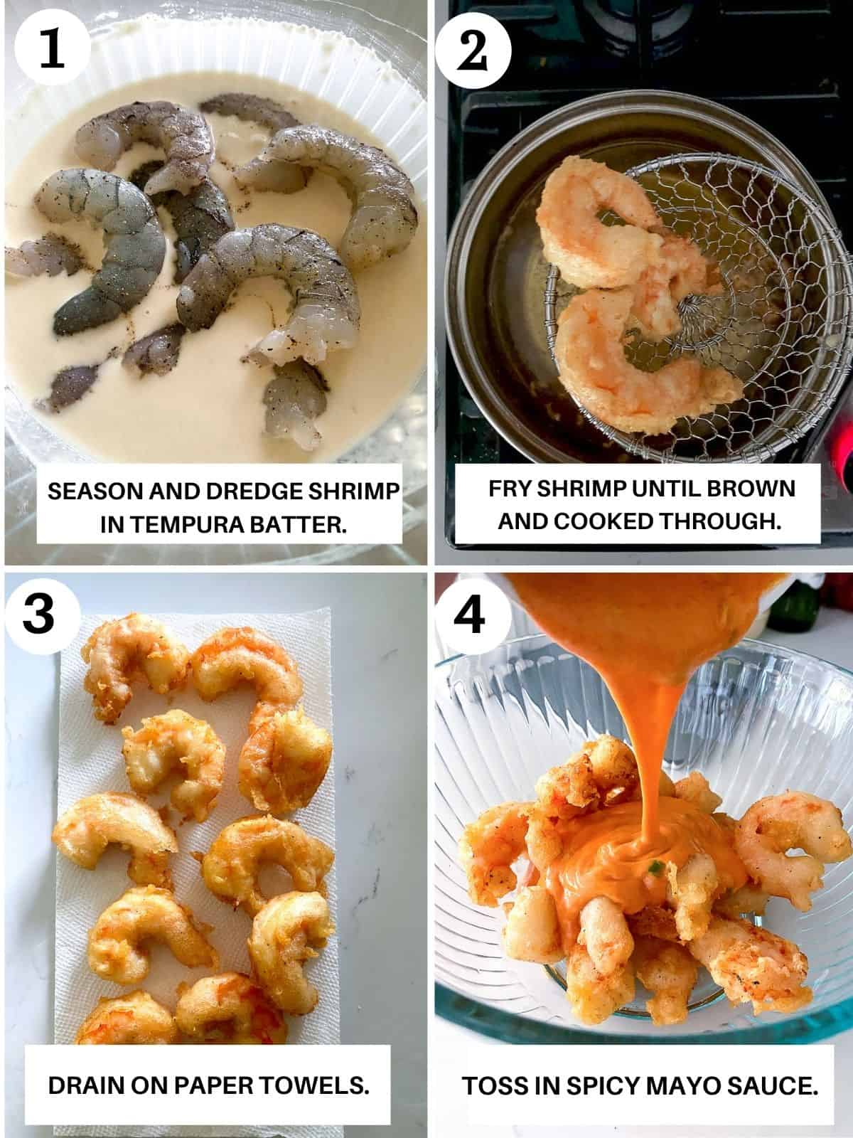 Step by step photos showing how to dredge, season and coat dynamite shrimp.