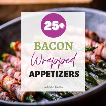 """Bacon wrapped asparagus with text overlay, """"bacon wrapped appetizers""""."""