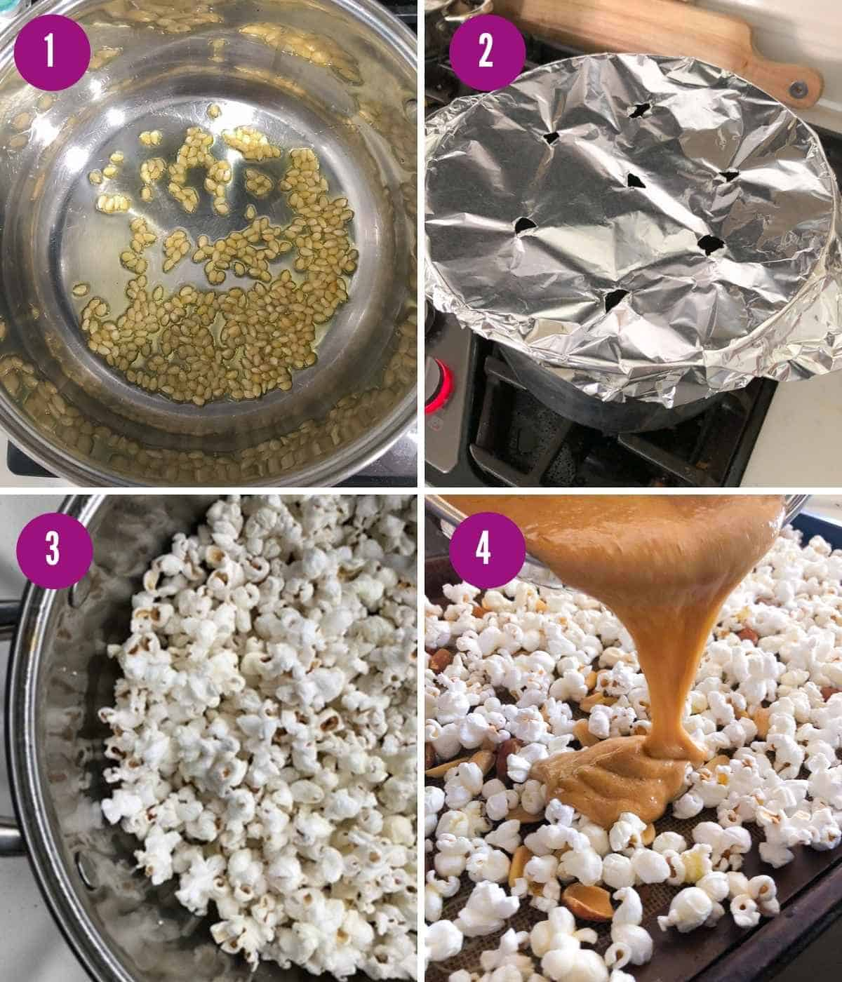 Steps for how to make your own homemade popcorn on the stovetop.